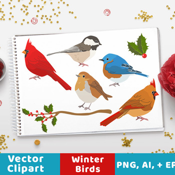 Winter Birds Clipart, Christmas Clipart, Winter Clipart, Holiday Clipart