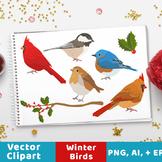 Winter Birds Clipart, Christmas Clipart, Winter Clipart, H