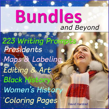 223 Writing Prompts + Grammar + Geography + Art + Black & Women's History...