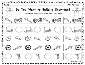 Winter Pattern Activities for Kindergarten & 1st Grade