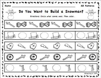 Winter Pattern Activities for Kindergarten & 1st Grade
