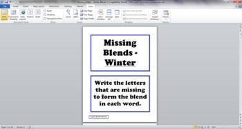 Winter Blends Task Cards