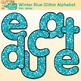 Winter Blue Glitter Alphabet Clip Art | Glitter Letters for Classroom Decor