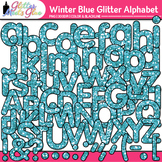 Winter Blue Glitter Alphabet Clip Art {Great for Classroom