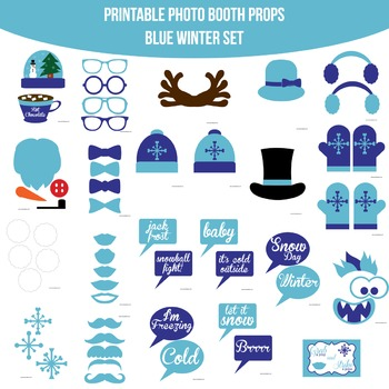 Winter Blue Printable Photo Booth Prop Set