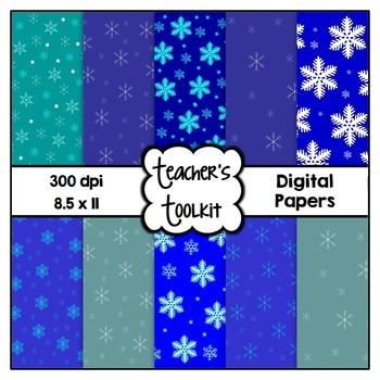 Winter Blues! Snowflake Digital Background Papers Clip Art CU OK