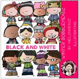Winter Bobbleheadz by Melonheadz BLACK AND WHITE