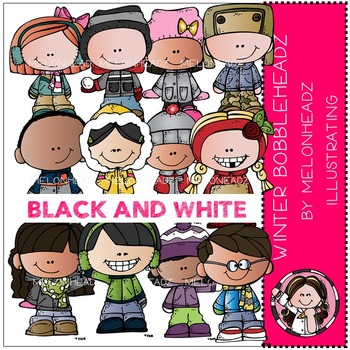 Winter clip art - Bobbleheadz - BLACK AND WHITE- by Melonheadz