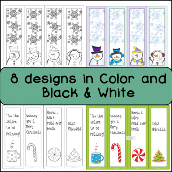 Winter Bookmarks, EDITABLE 8 designs