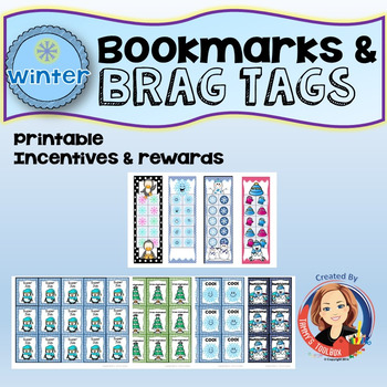 Winter Bookmarks and Brag Tags  Student Incentives and Rewards