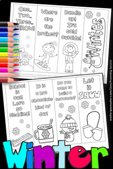 Winter Bookmarks to Color, Black and White Winter Coloring Pages