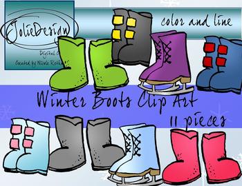 Winter Boots Clipart - Color and Line Art 13 Piece Set