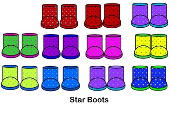 Rain Boots Clip art- Personal & CU (70 pairs of boots)