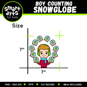 Winter Boy Counting Snow Globe Clip Art