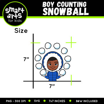 Winter Boy Counting Snowball Clip Art