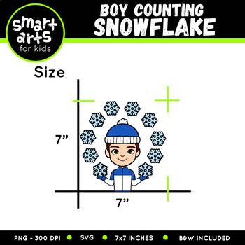 Winter Boy Counting Snowflake Clip Art