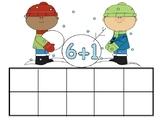 Winter Boys Making Snowman Ten Frames Addition & Subtraction Turn Around Facts