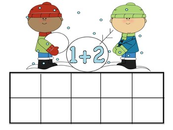 Winter Boys Making Snowman Ten Frames Addition & Subtraction Turn Around Facts