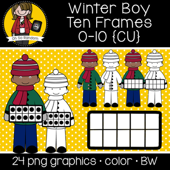 Winter Boy Ten Frames {Graphics for Commercial Use}