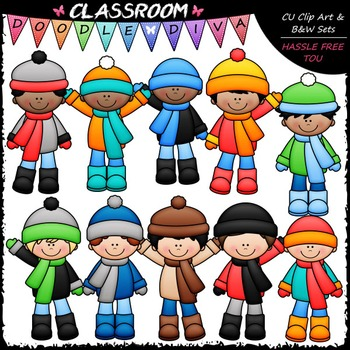 Winter Boys Clip Art - Winter Kids Clip Art