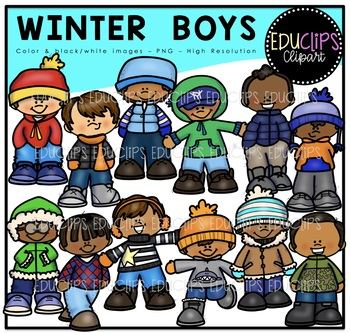 Winter Boys Clip Art Bundle {Educlips Clipart}