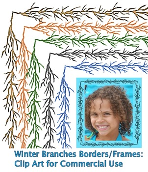 Winter Branches Borders/Frames: Clip Art for Commercial Use – No Credit Required