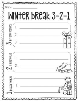 Winter Break 3-2-1 Freebie