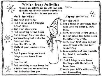 Winter Break Activities ~FREEBIE~