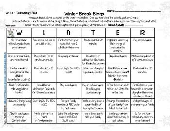 Winter Break BINGO | Holiday Homework for Christmas Break | Multiple Versions