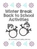 Winter Break Back to School Activities