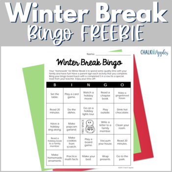 FREE Winter Break Bingo