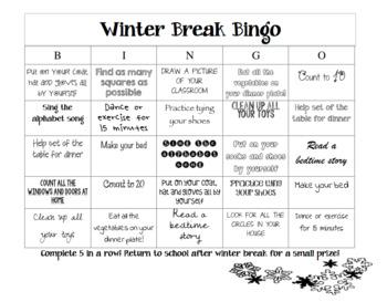 Winter Break Bingo (Editable)