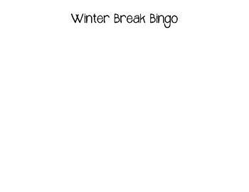 Winter Break Bingo English/Spanish