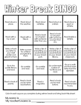 Winter Break Bingo (Reading and Writing Focused)