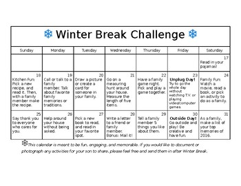 Winter Break Calendar