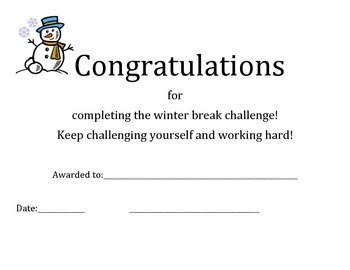 Winter Break Certificate