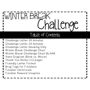 Winter Break Challenge-a reading and writing activity