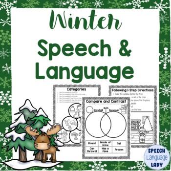 Winter Break / Christmas Break Speech and Language Homework and Activities