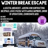 Winter Break Escape Math Digital Breakout Coordinate Grid Order of Operations
