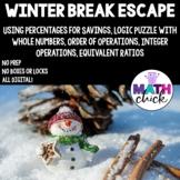 Winter Break Escape Math Digital Integer Operations, Order of Operations, Ratios
