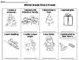 Winter Break Find a Friend activity