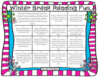 Winter Break Holiday Reading Fun Choice Board - Practice and Build Fluency