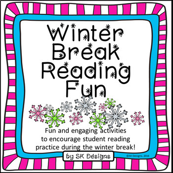 Winter Break Holiday Reading Fun Choice Board and Story Review in Color and BW