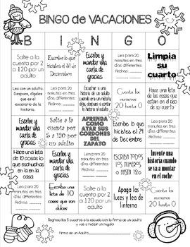 Winter Break Homework BINGO for First Grade