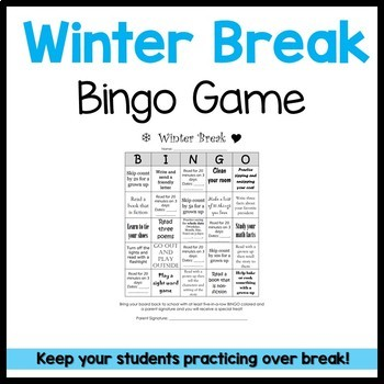 Winter Break Homework Bingo