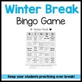 Winter Break Homework Bingo