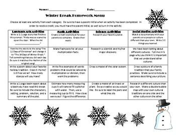 Winter Break Homework Menu