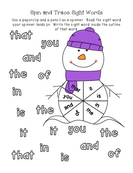 Kindergarten Winter Break Homework Packet