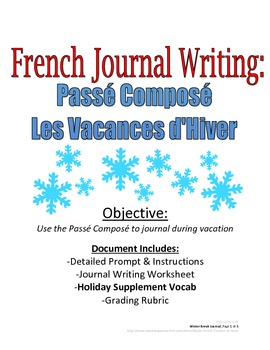 Winter Break Journal with Passe Compose for French Students: Rubric Included