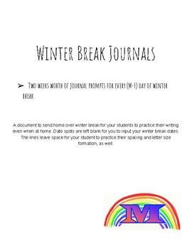 Winter Break Journals
